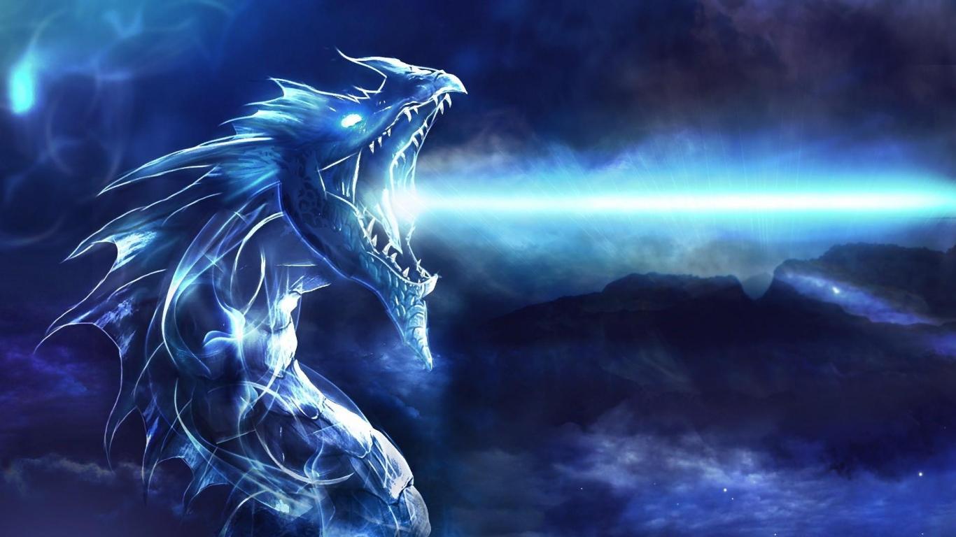 Download Wallpaper 1366x768 dragon mouth night light laptop 1366x768