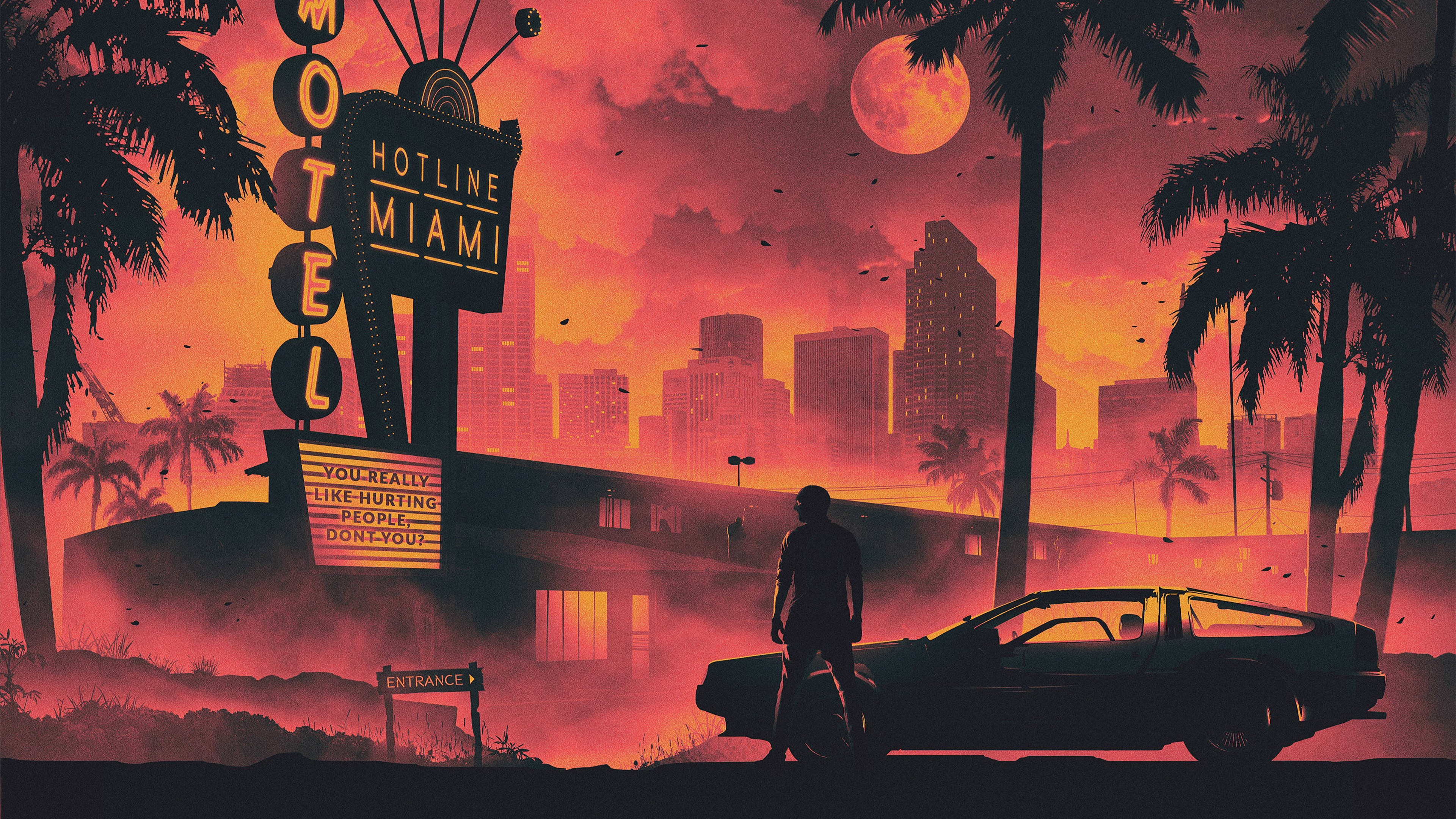 Wallpaper Retrowave city orange 5K Art 19713 3840x2160