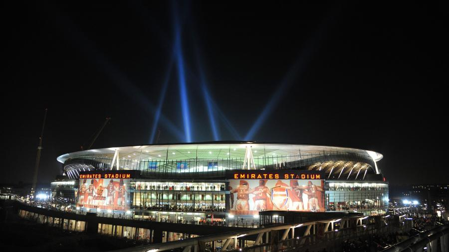 Arsenal FC Emirates Stadium London at Night 4K Wallpapers 900x506