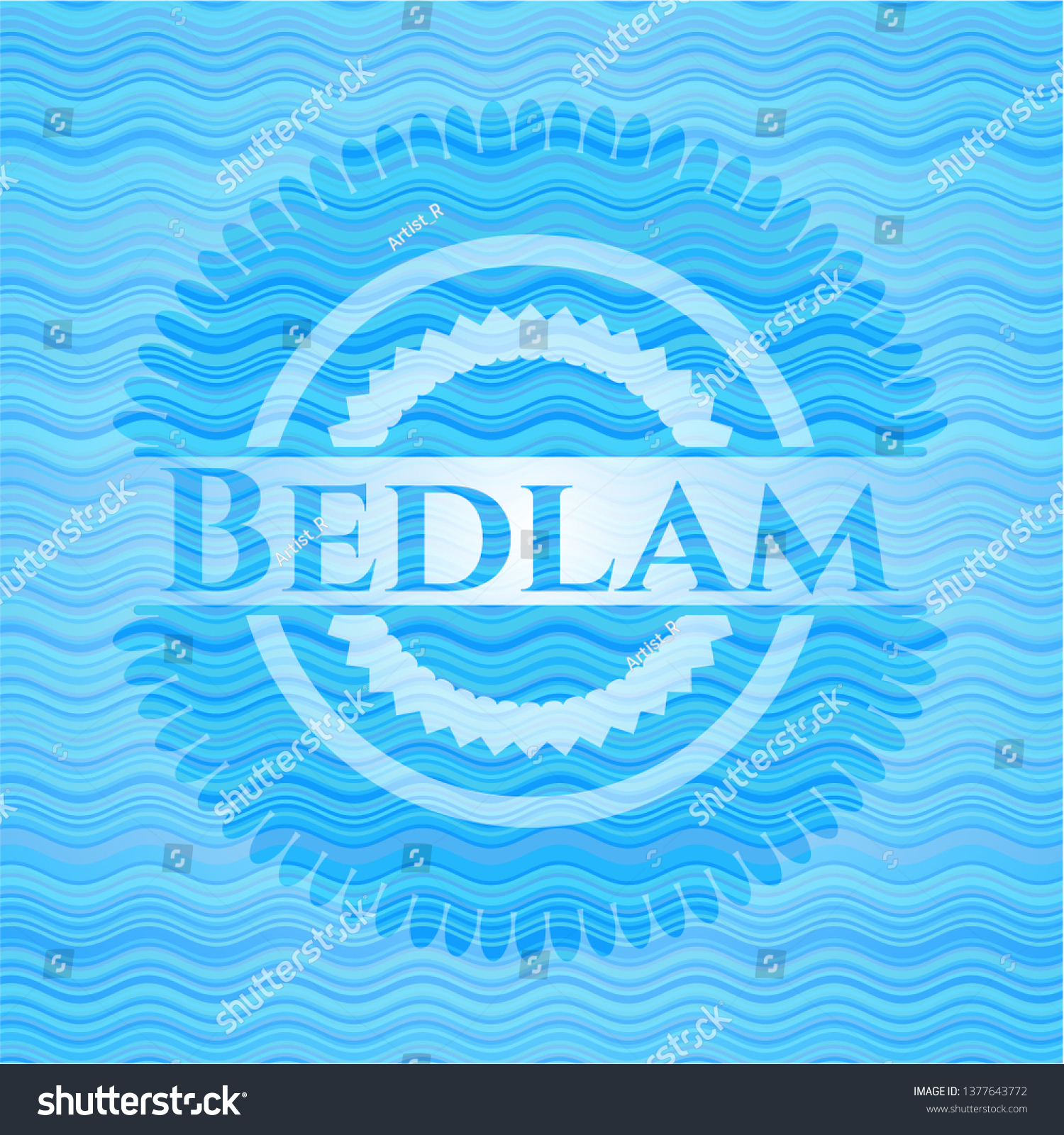 Bedlam Water Concept Emblem Background Royalty  Stock Image 1500x1600