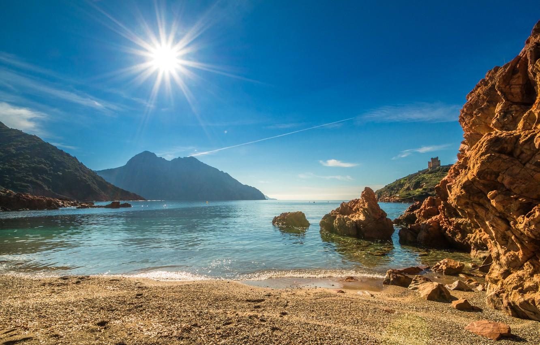 Wallpaper sea beach the sky the sun rays mountains stones 1332x850