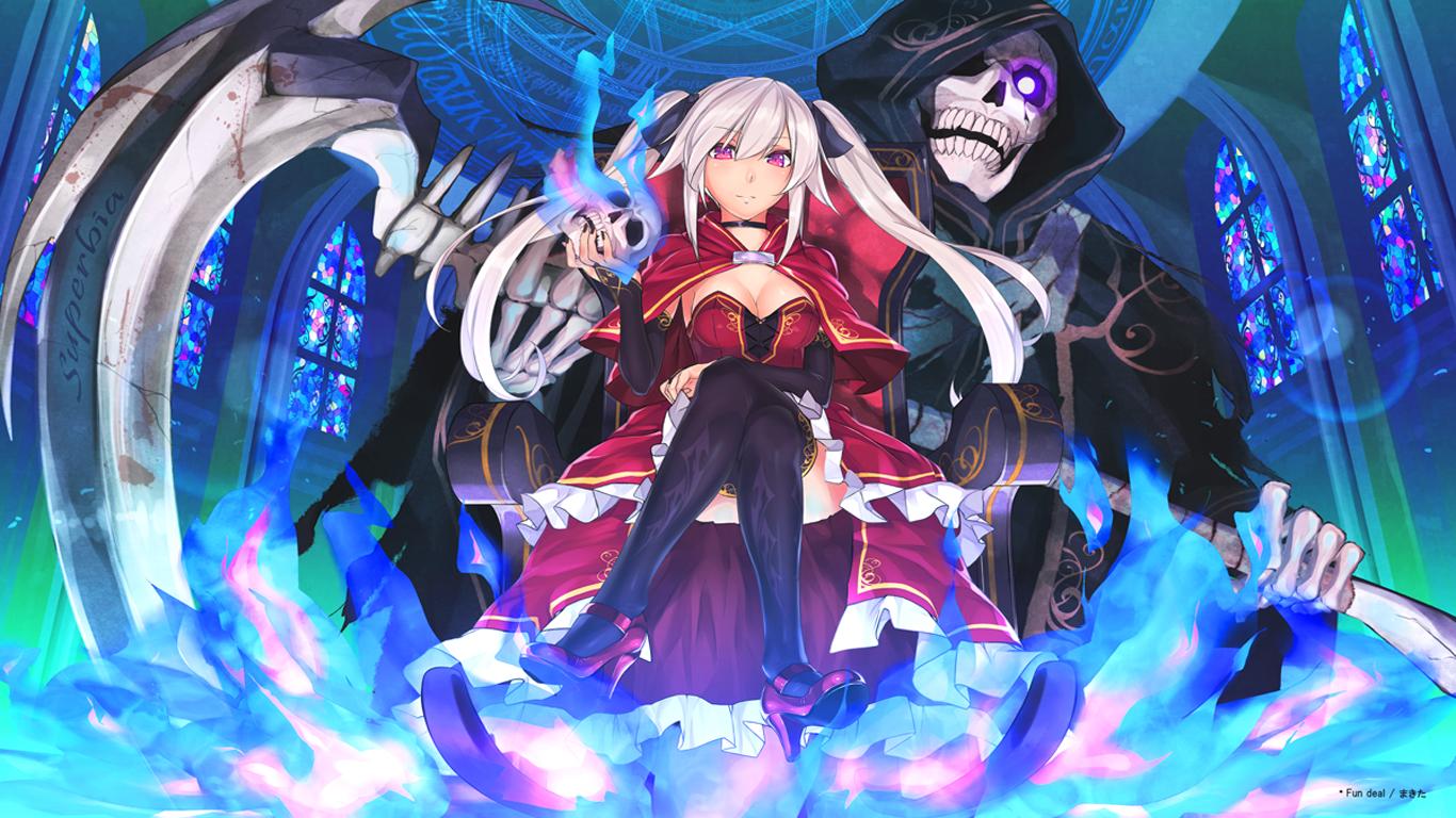 anime girl skull sctyhe reaper hd wallpaper 1366x768 1366x768