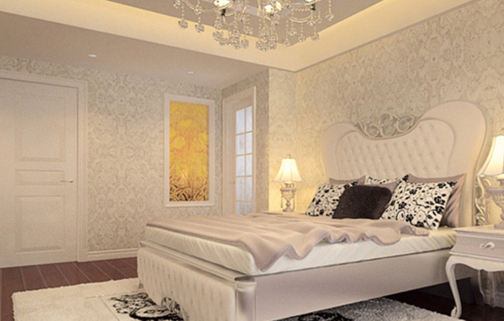 European style bedroom back wall decoration with wallpaper 3D house 1024x652