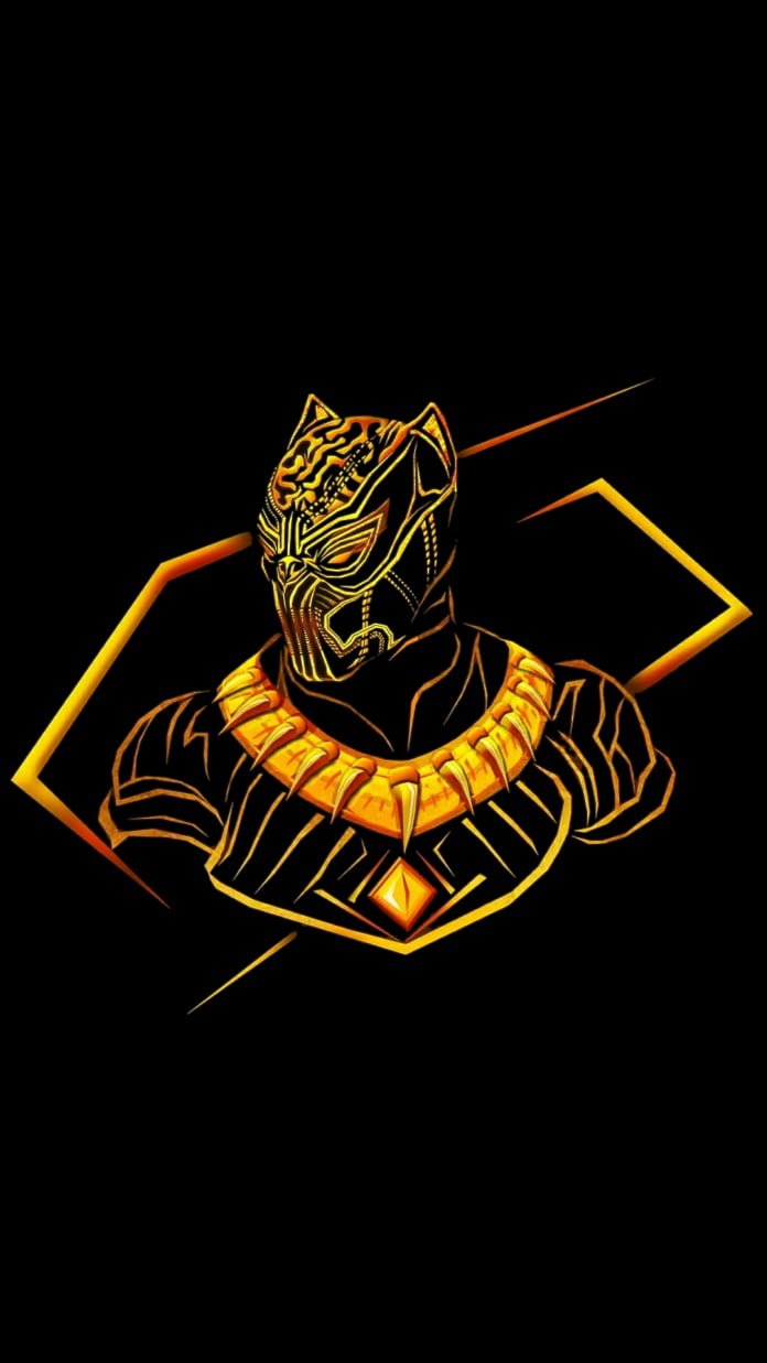 HD Gold traced Black Panther wallpaper with black overalls so it 696x1237
