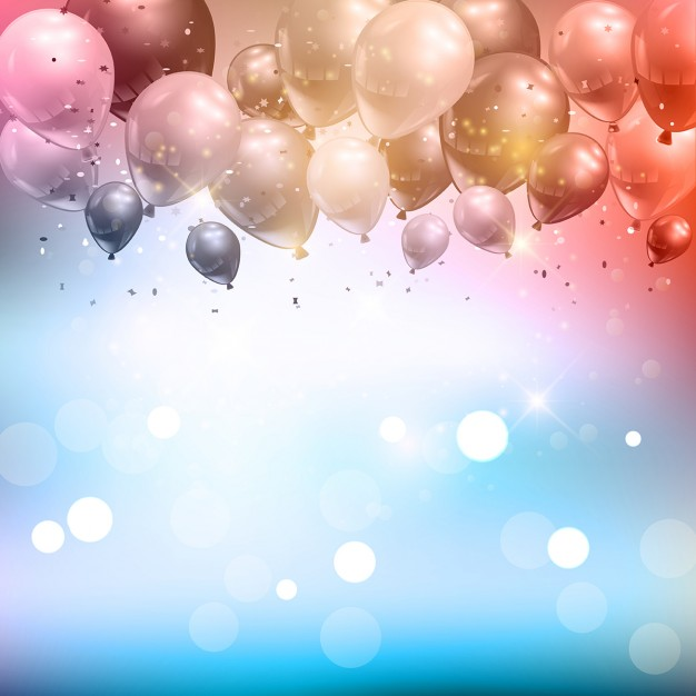 Fondo de celebracin de globos y confeti Descargar 626x626