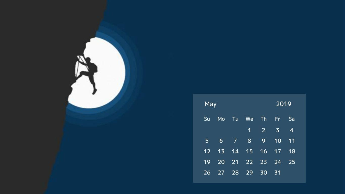 May 2019 Desktop Calendar Wallpaper 1366x768