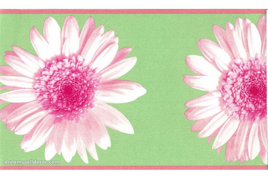 Green Pink Flower Wallpaper Border 900x600