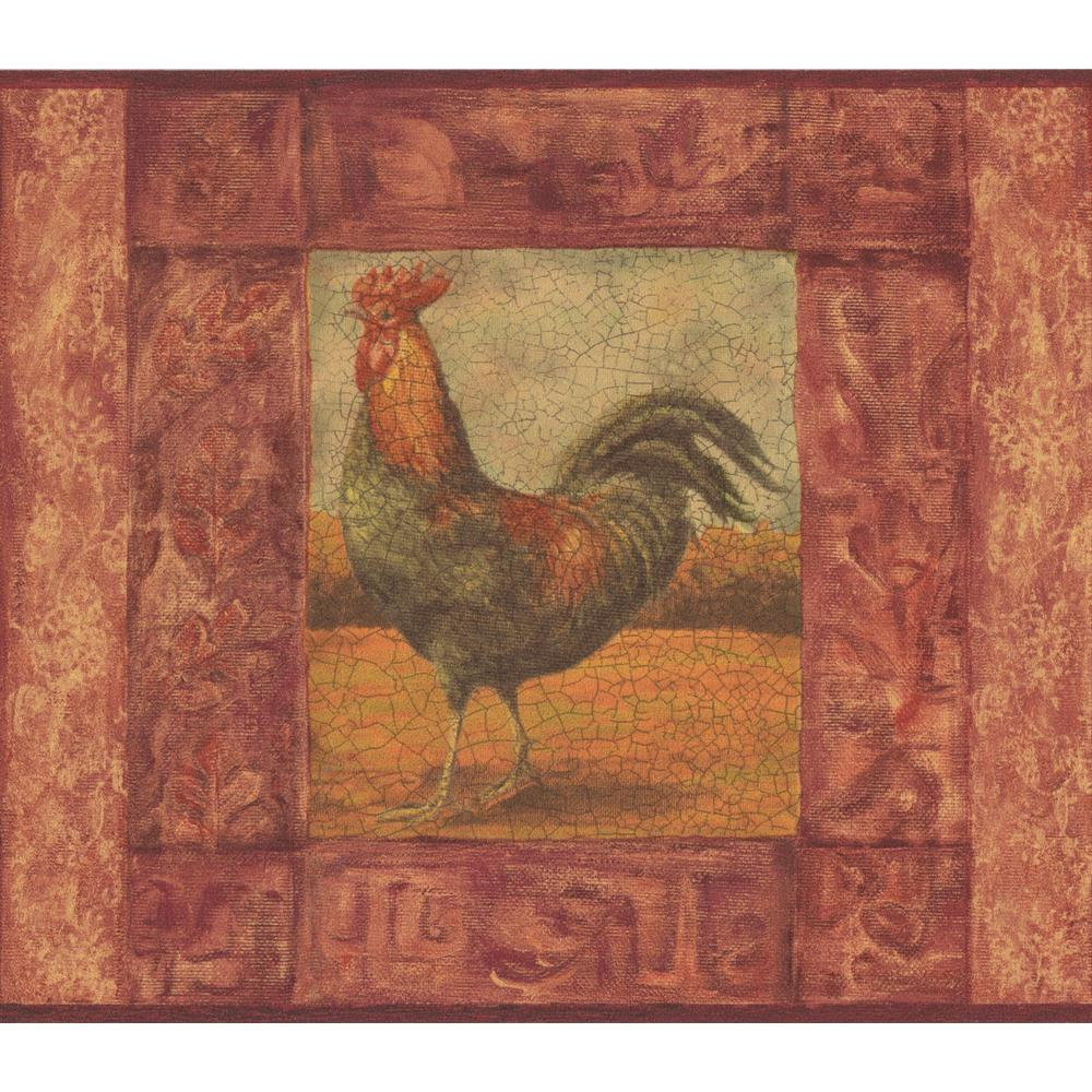 Norwall Cracked Red Frame Painting of Rooster Vintage Prepasted 1000x1000