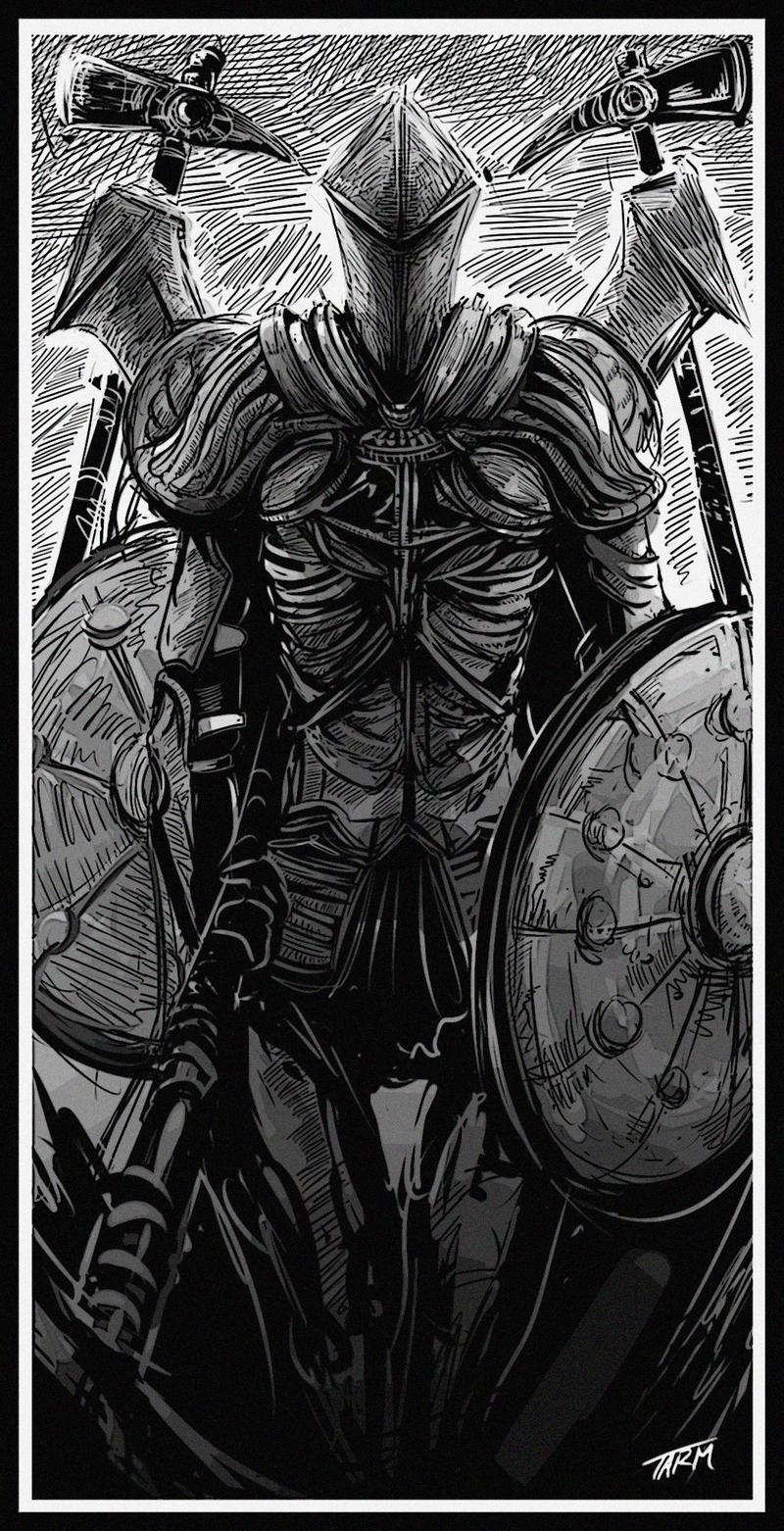 Ruin Sentinel Dark Souls 2 by Paper pulp 800x1562