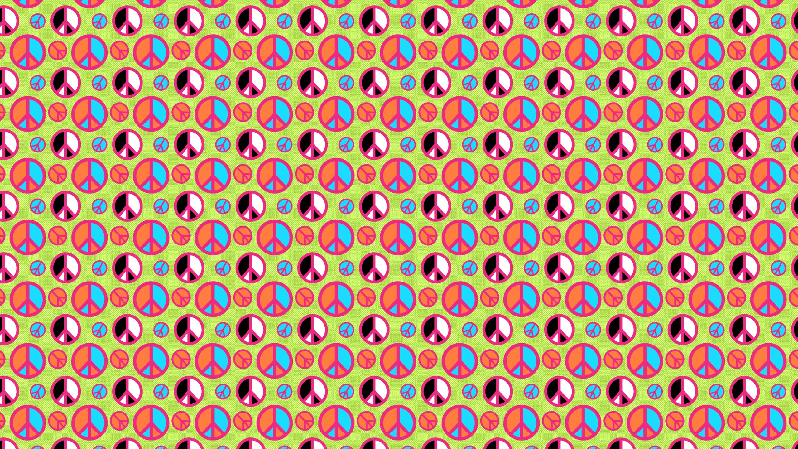 Lime Peace Signs Desktop Wallpaper 2560x1440