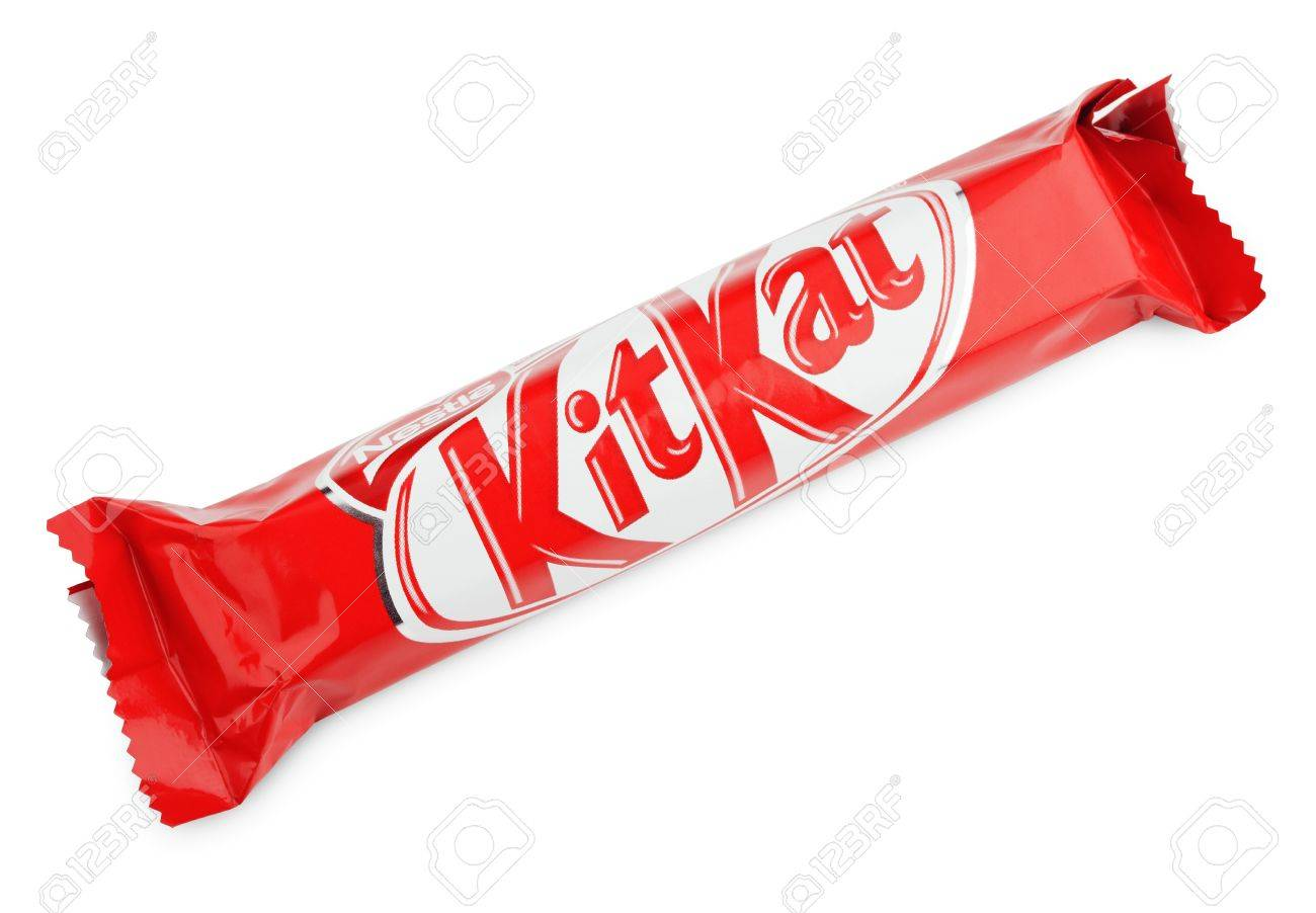 Closeup Of Kit Kat Candy Chocolat Bar Made By Nestle Isolated 1300x902