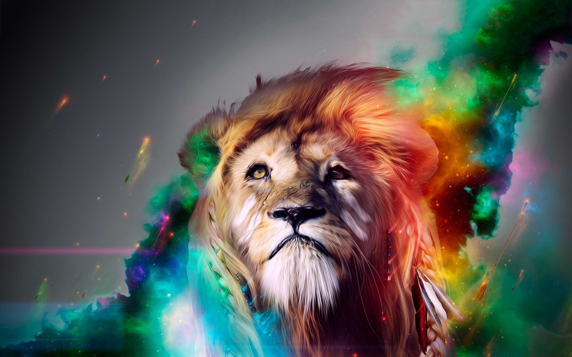 Lion cg digital art fantasy psychedelic face eyes color manip 1920x1200