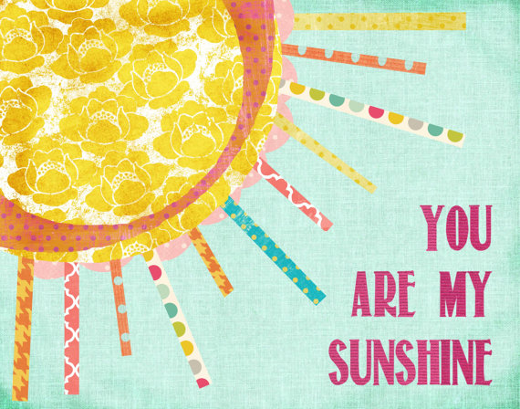 Print Art You are My Sunshine Aqua background Pink Letters Girl 570x448