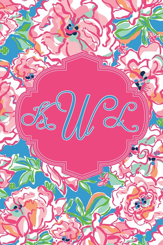 Items similar to Lilly Pulitzer iPhone Monogram Wallpaper on Etsy 570x855