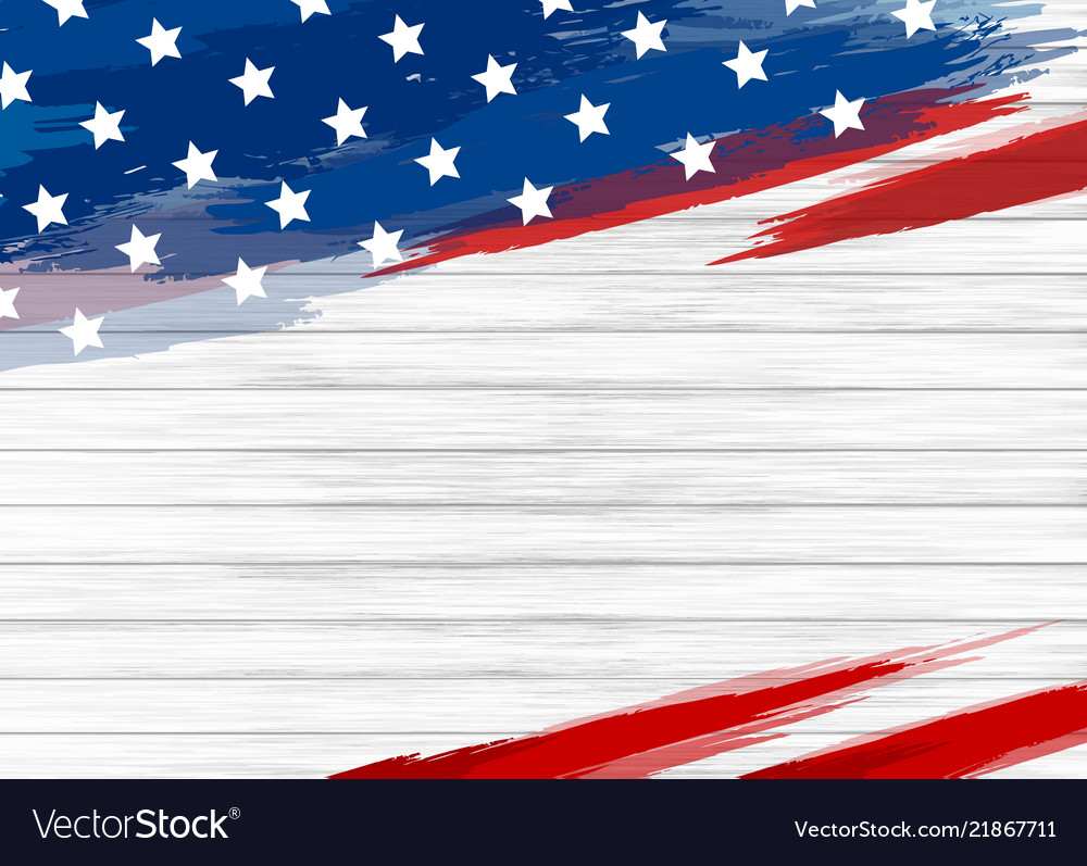 American flag paint on white wood background Vector Image 1000x797