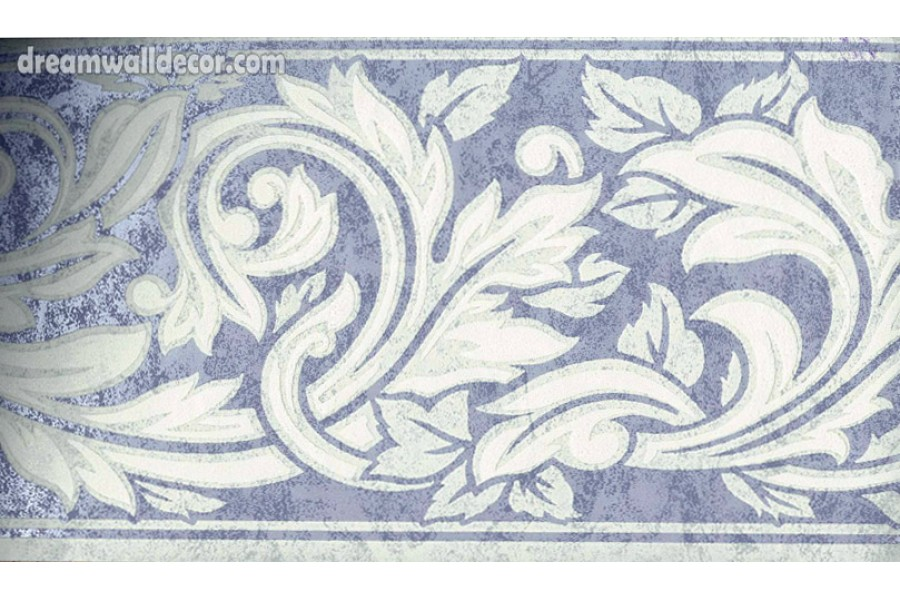 Blue Running Floral Wallpaper Border 900x600