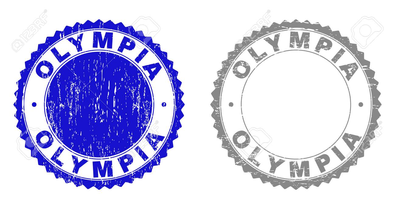 Grunge OLYMPIA Stamp Seals Isolated On A White Background Rosette 1300x690