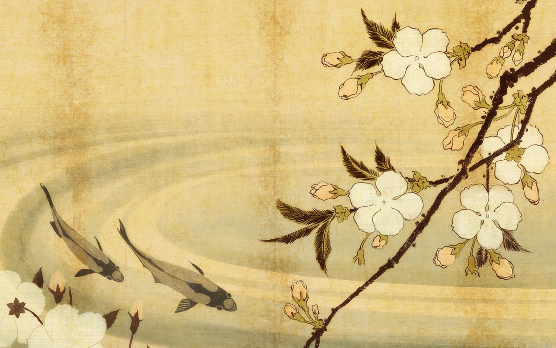 Japanese Carp Art Wallpaper 1920X1200 World Wallpaper Collection 1920x1200