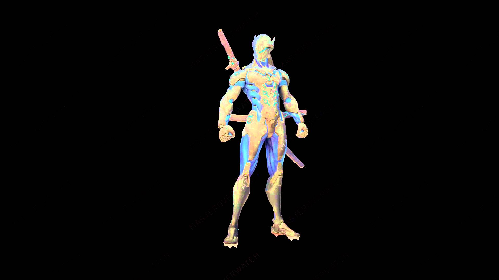 HD Carbon Fiber Genji Overwatch Skin 1920x1080
