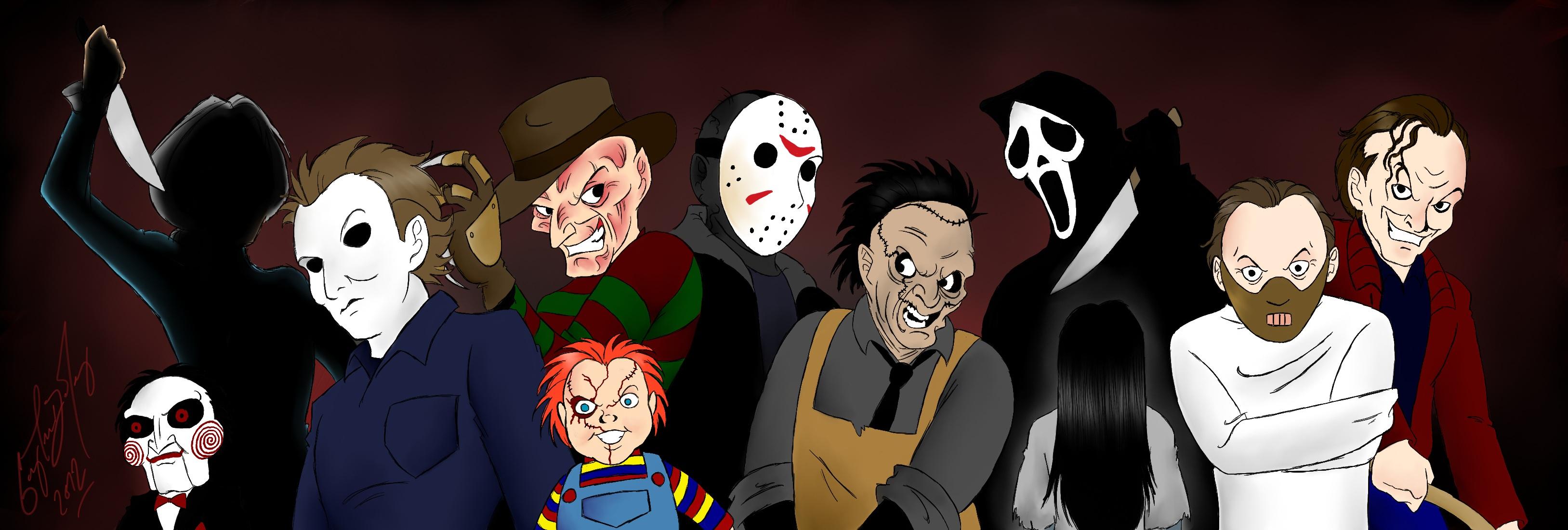 horror movie icons by darthguyford fan art digital art drawings movies 3255x1100