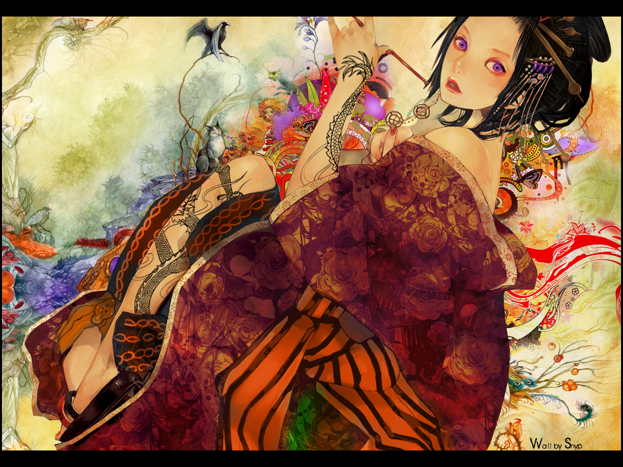 geisha girl Smoking Geisha wallpaper 1280x960
