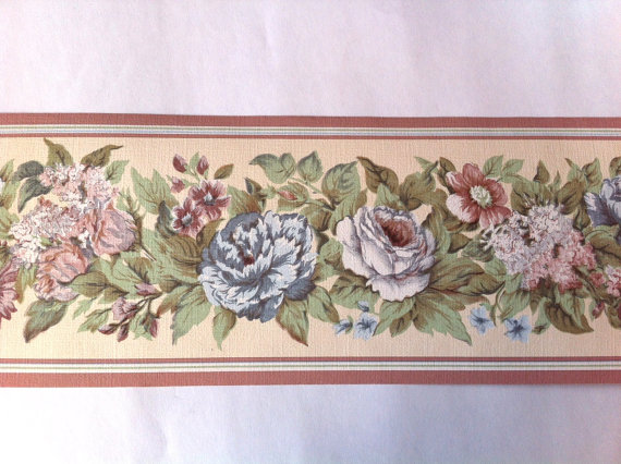 Items similar to Vintage Shabby Roses Wallpaper Border Pink Blue White 570x426