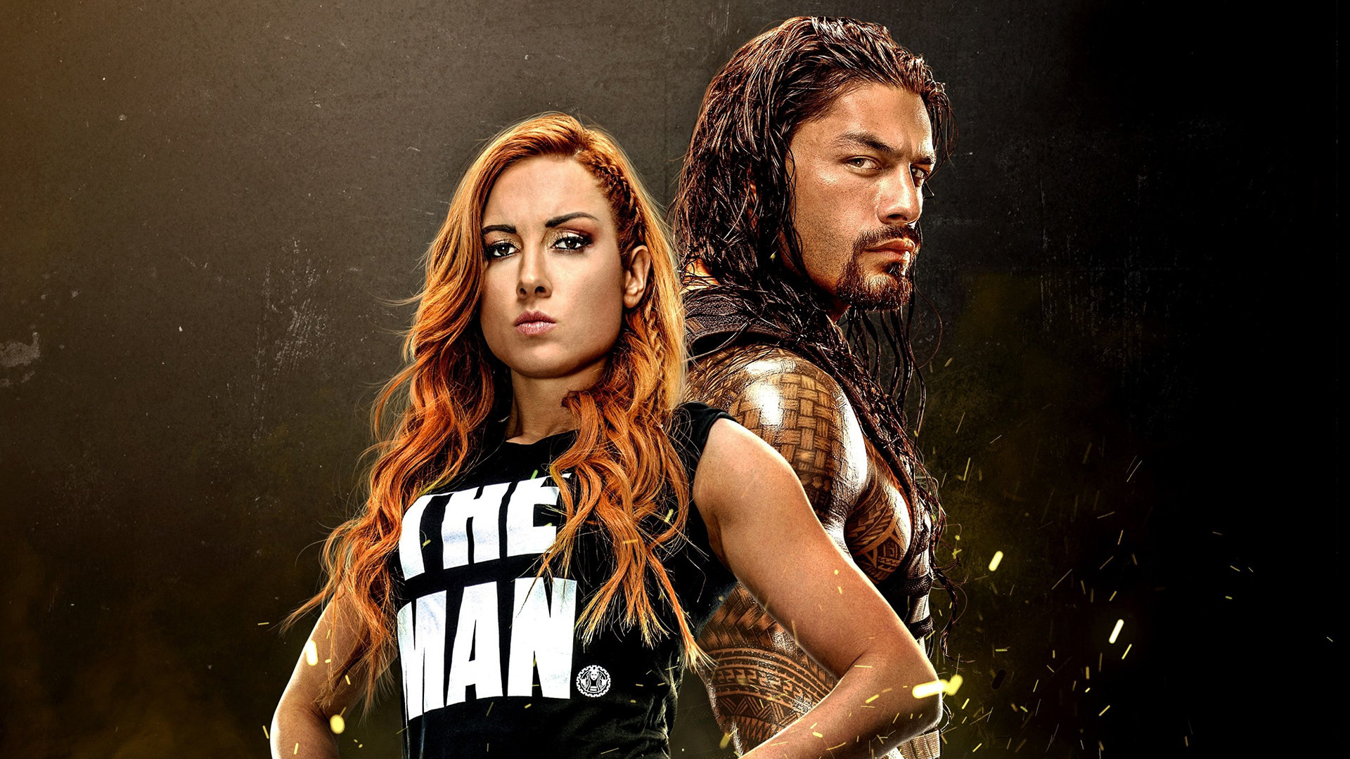 Wallpaper of Becky Lynch Roman Reigns WWE 2K20 background HD image 1920x1080