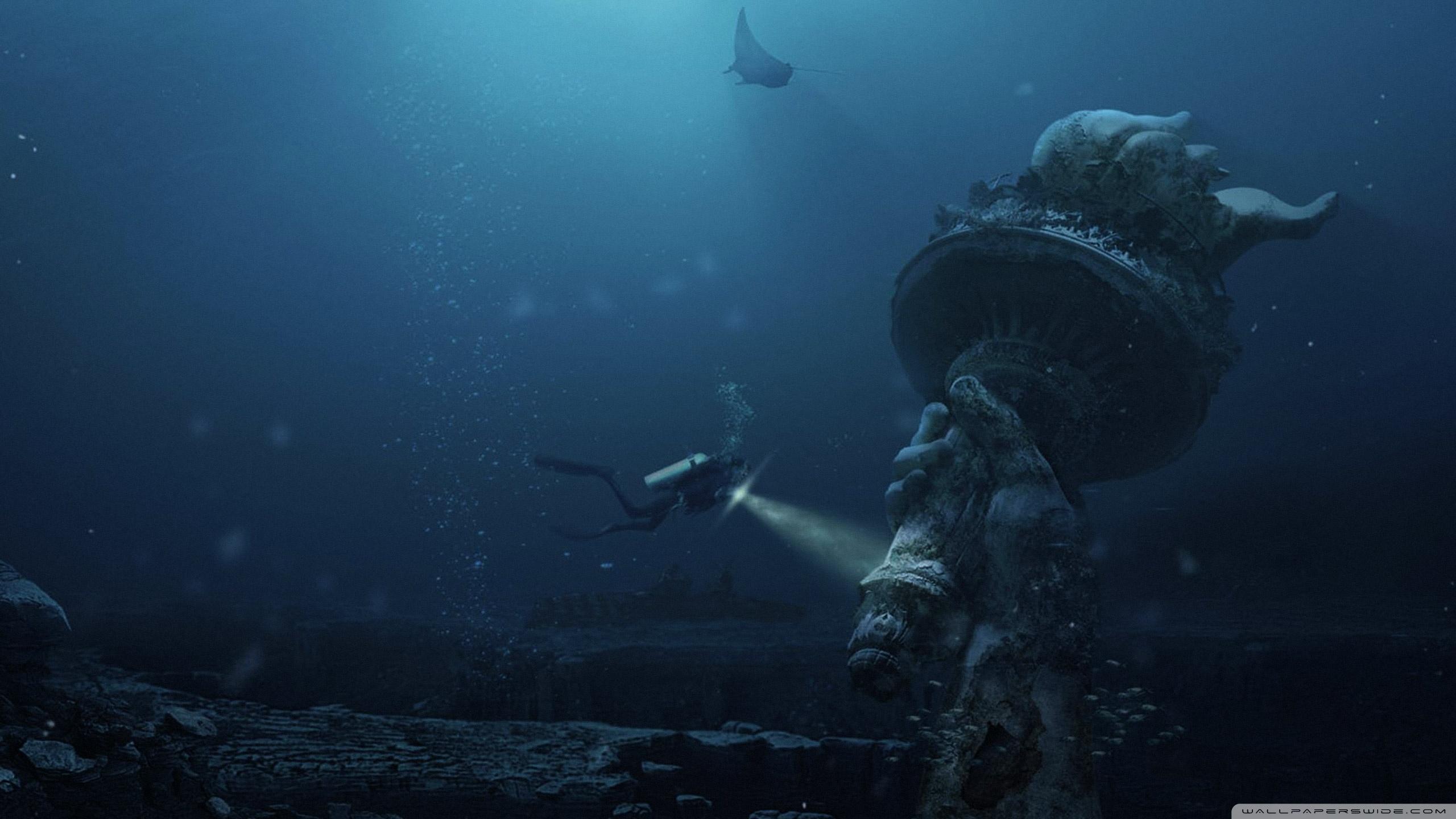 Underwater Ruins 4K HD Desktop Wallpaper for 4K Ultra HD TV 2560x1440