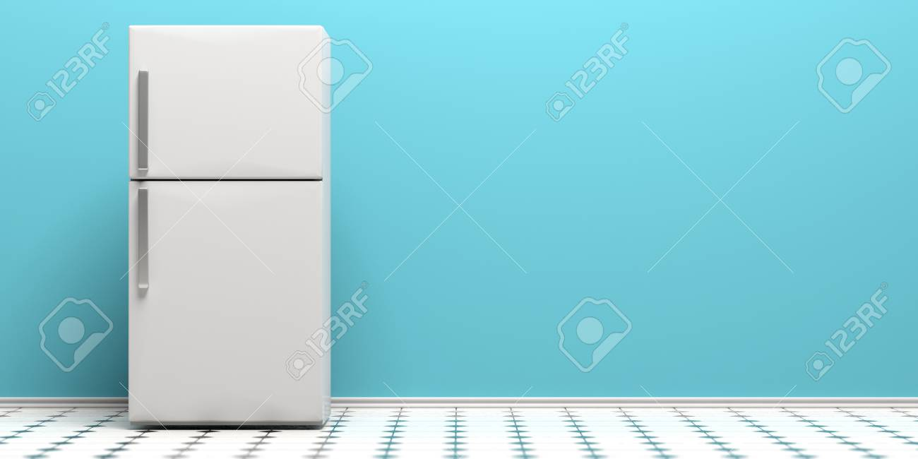 Refrigerator Fridge On Kitchen Tiled Floor Blue Wall Background 1300x650