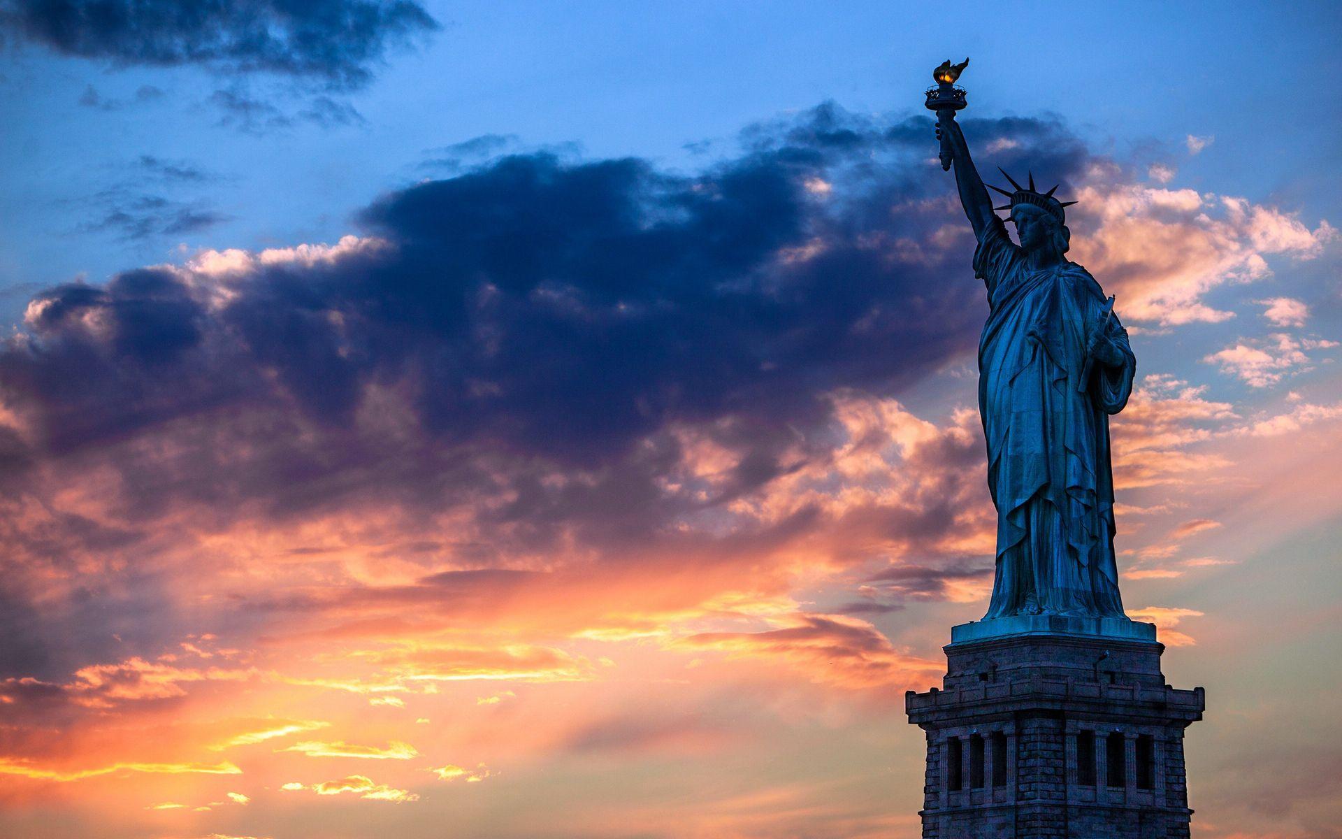 Statue Of Liberty Sunset Wallpaper   Travel HD Wallpapers 1920x1200