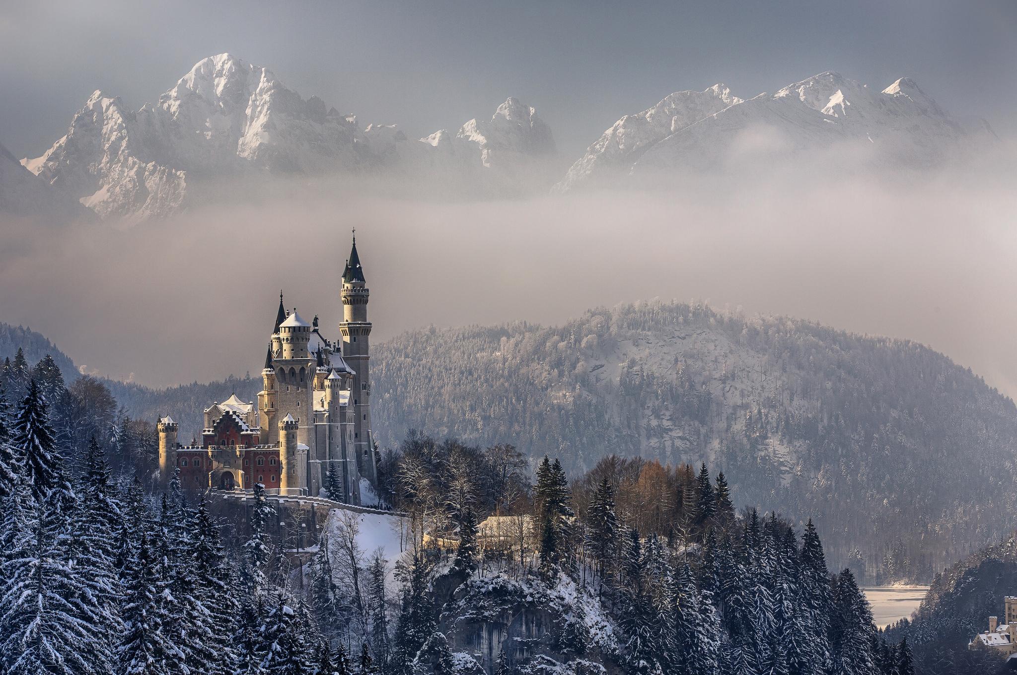 Wallpaper germany bavaria neuschwanstein castle sky clouds 2048x1360
