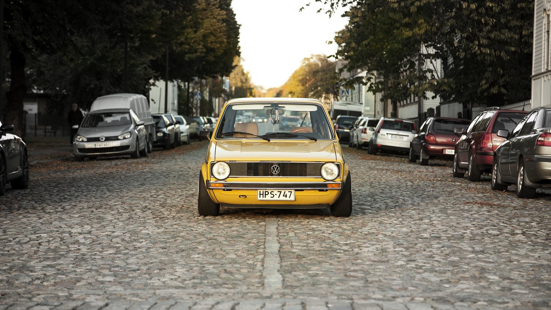 Download wallpaper 1920x1080 volkswagen golf mk1 yellow front 1920x1080
