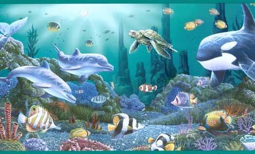 Ocean Wallpaper Border Aqua ocean life wallpaper 525x316