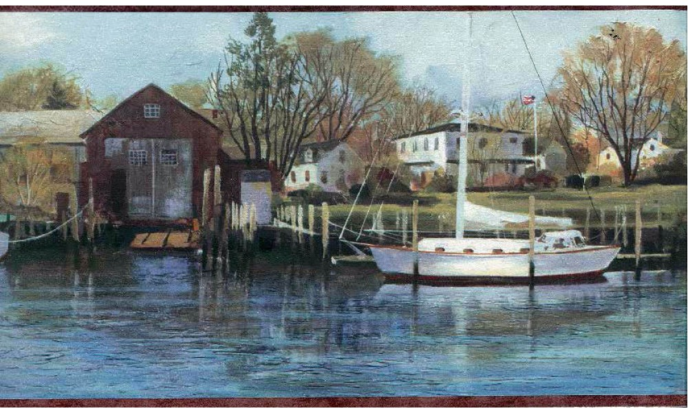 Home Boat yard scenery Wallpaper Border 1000x600