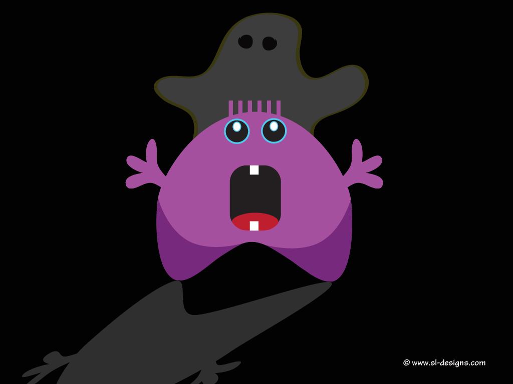 Halloween desktop wallpaper   cute monster and ghost  by SL Designs 1024x768