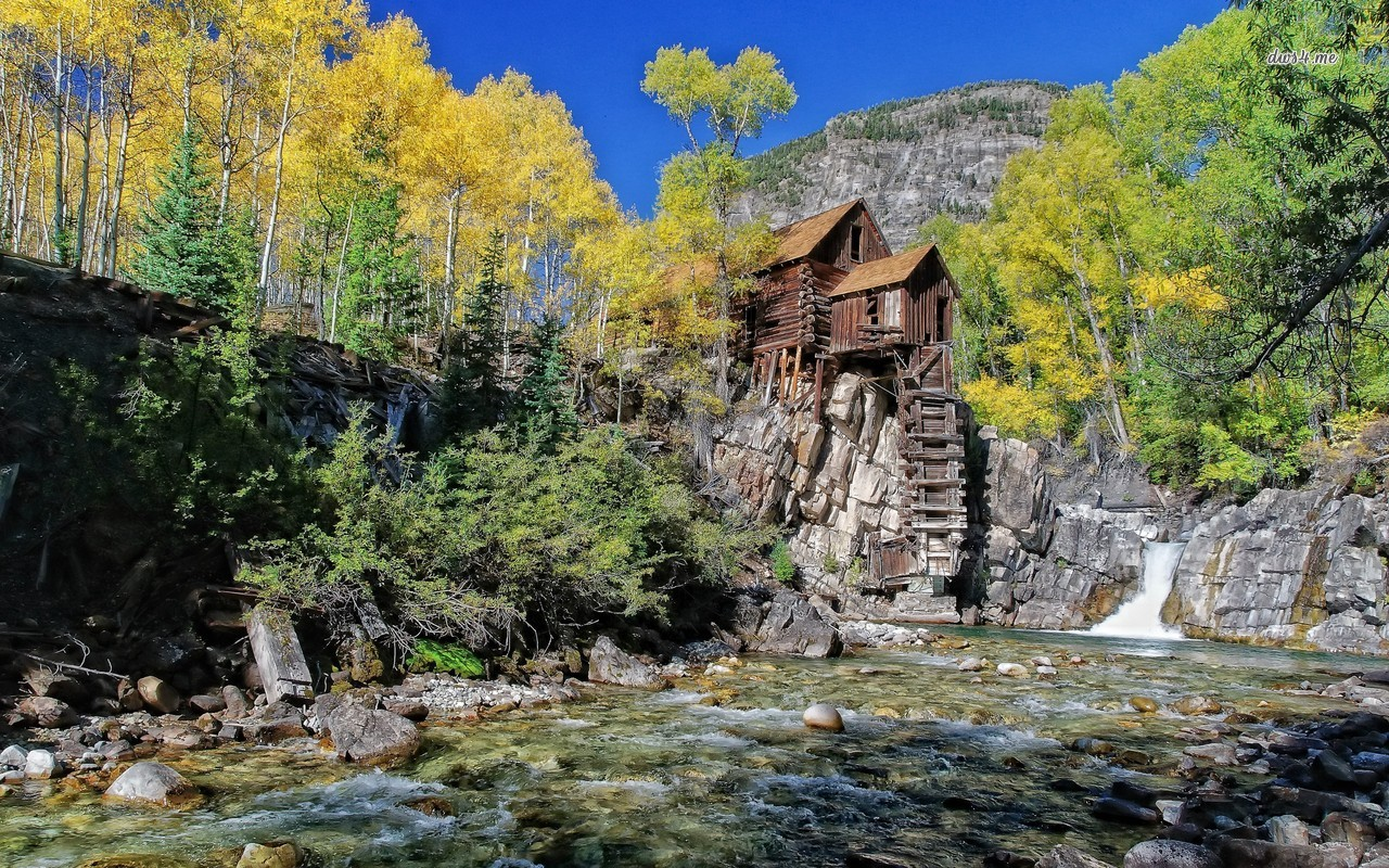 Riverside mountain cabin wallpaper   World wallpapers   16753 1280x800