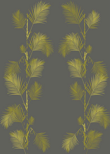 Palm Print Wallpaper in Grey and Gold Flickr   Photo Sharing 359x500