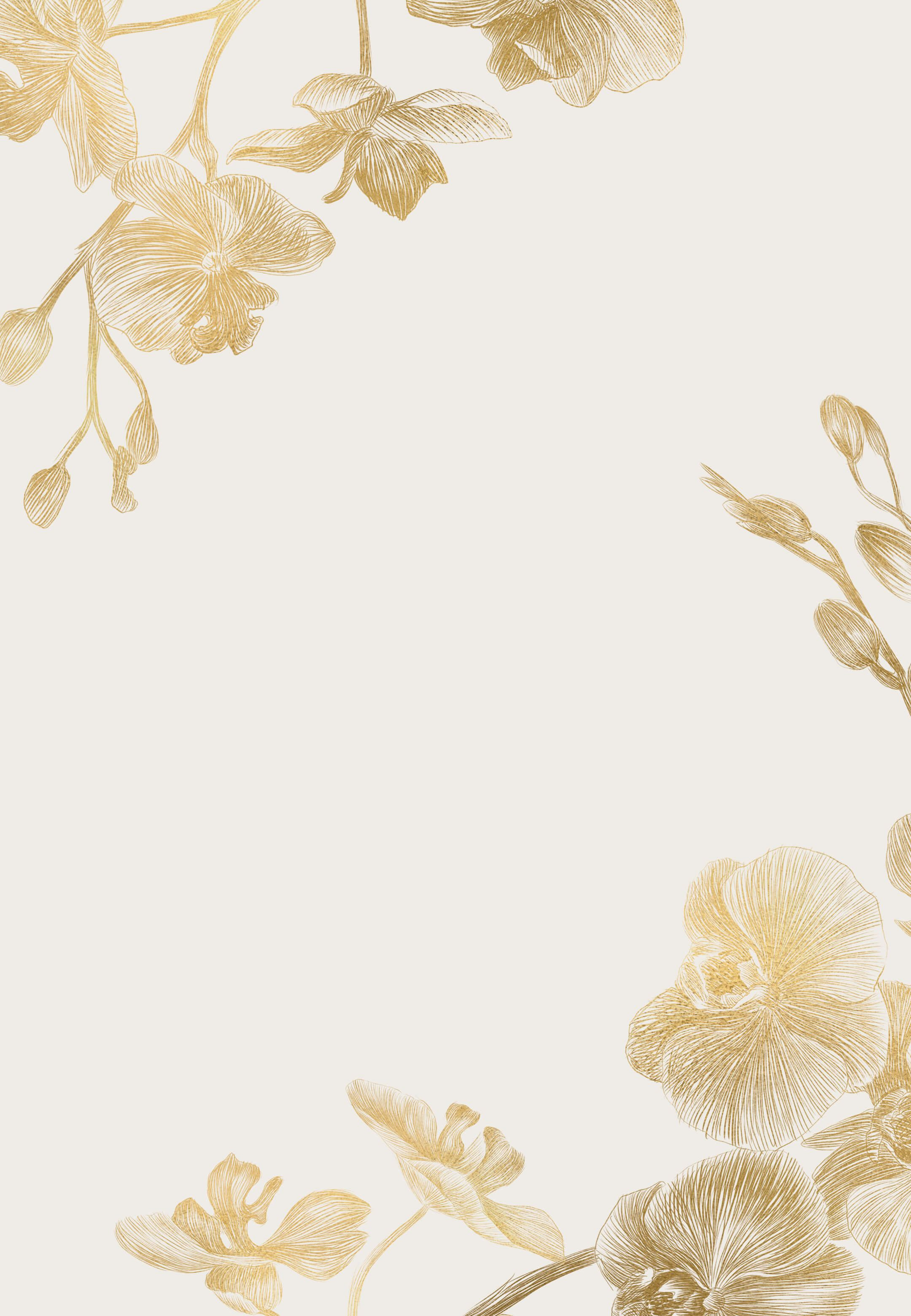 Gold Orchids   Wedding Invitation Template Greetings Island 2160x3120
