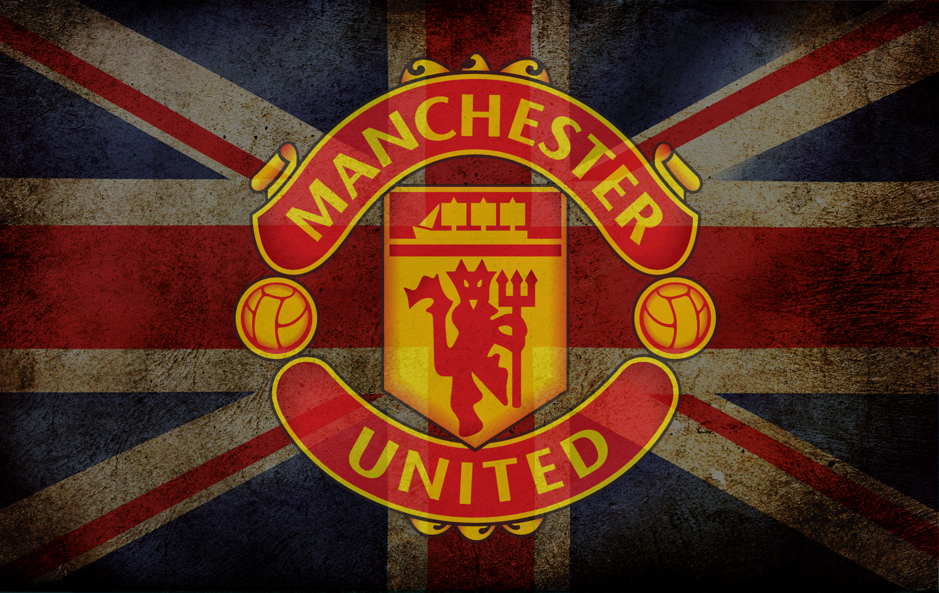 Manchester United In Flag English Wallpaper HD 255 Wallpaper High 1900x1200