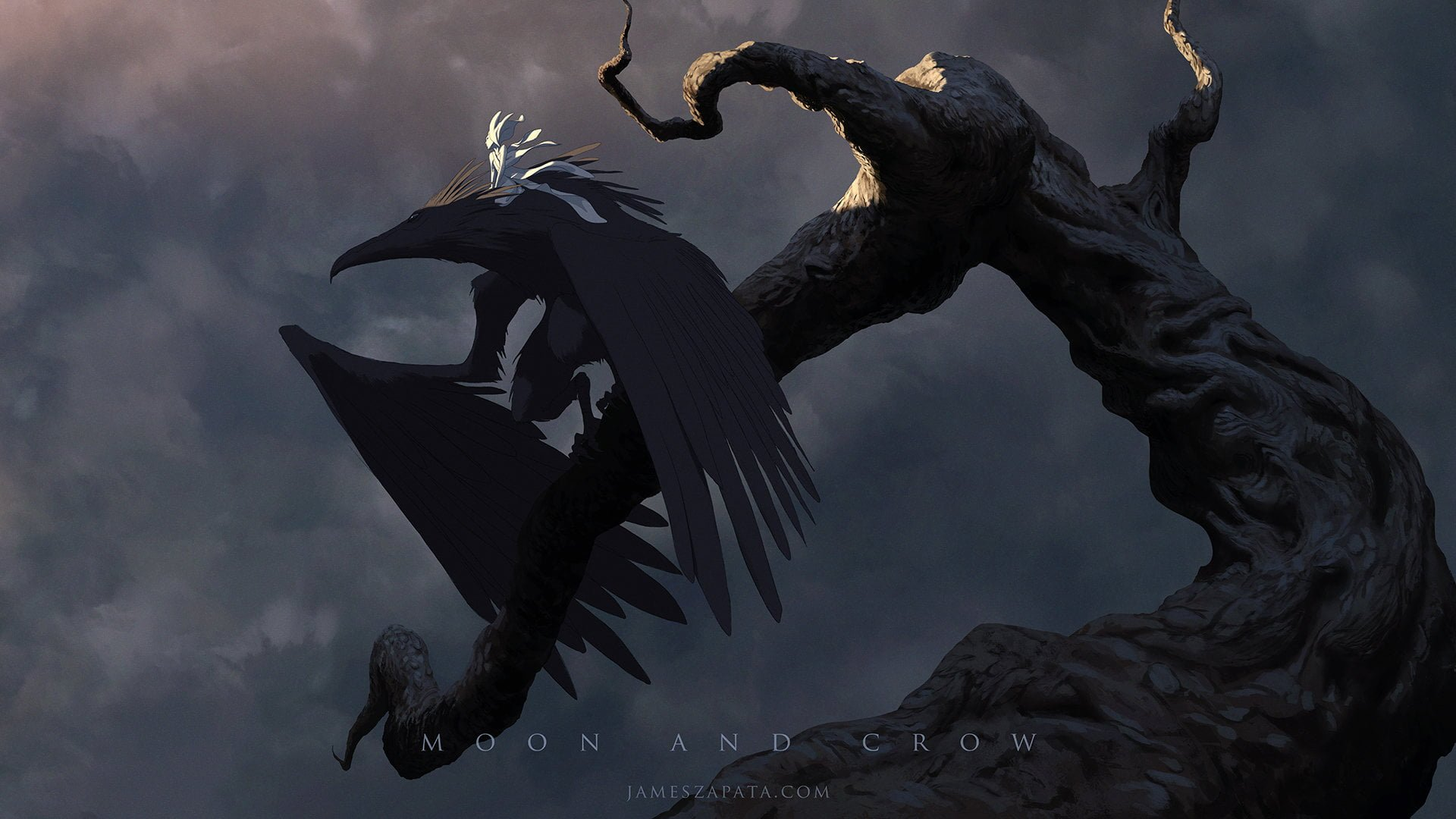 Moon and Crow movie scene artwork digital art James Zapata 1920x1080