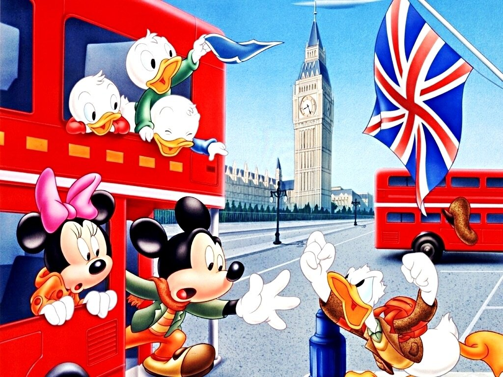 Walt Disney Characters Walt Disney Wallpapers   The Gang in London UK 1024x768
