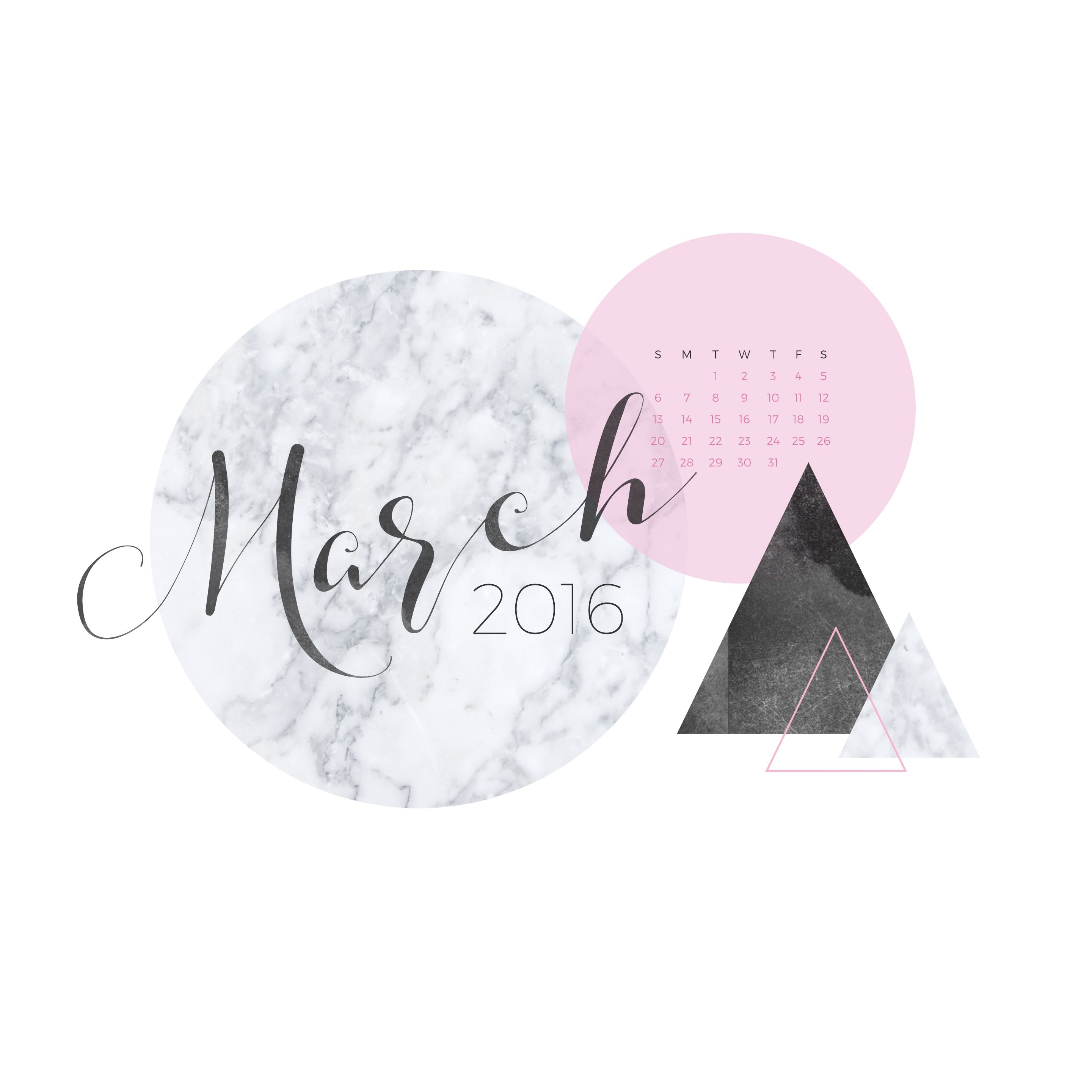 March 2016 Desktop Calendar Wallpaper Paper Leaf 2880x2880