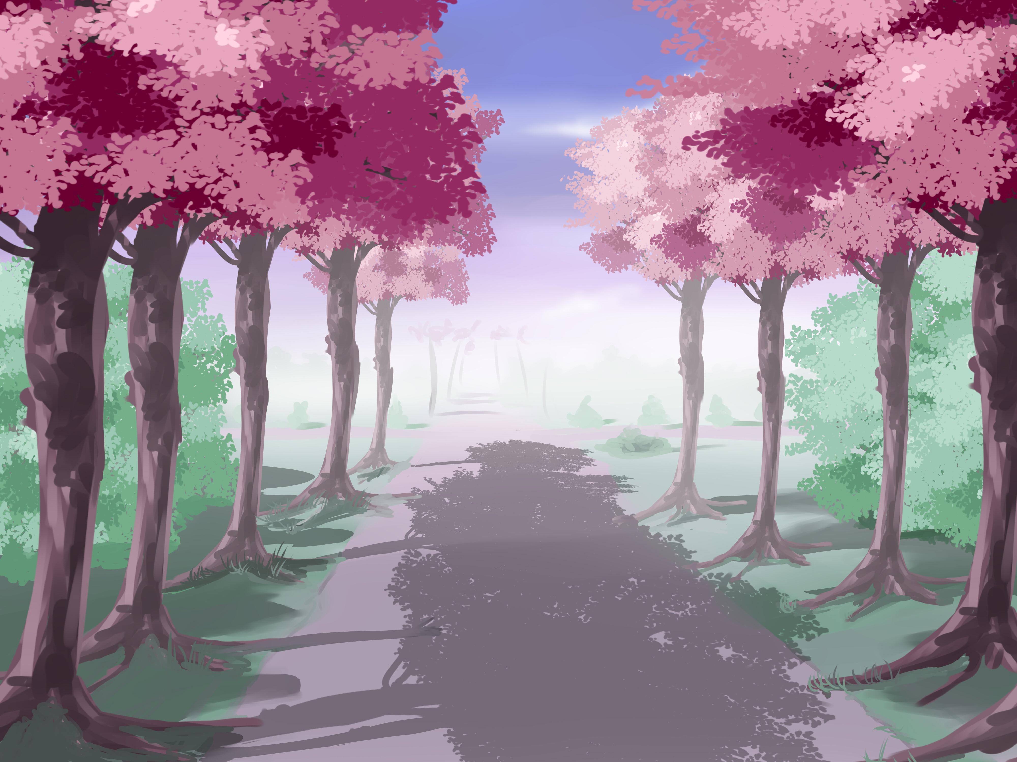 Anime House Background Anime style treed lane 4000x3000