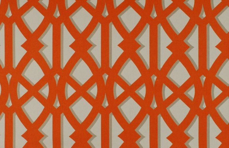 Orange Grey White Geometric Trellis Outdoor Fabric ODL Elton Tangerine 800x518