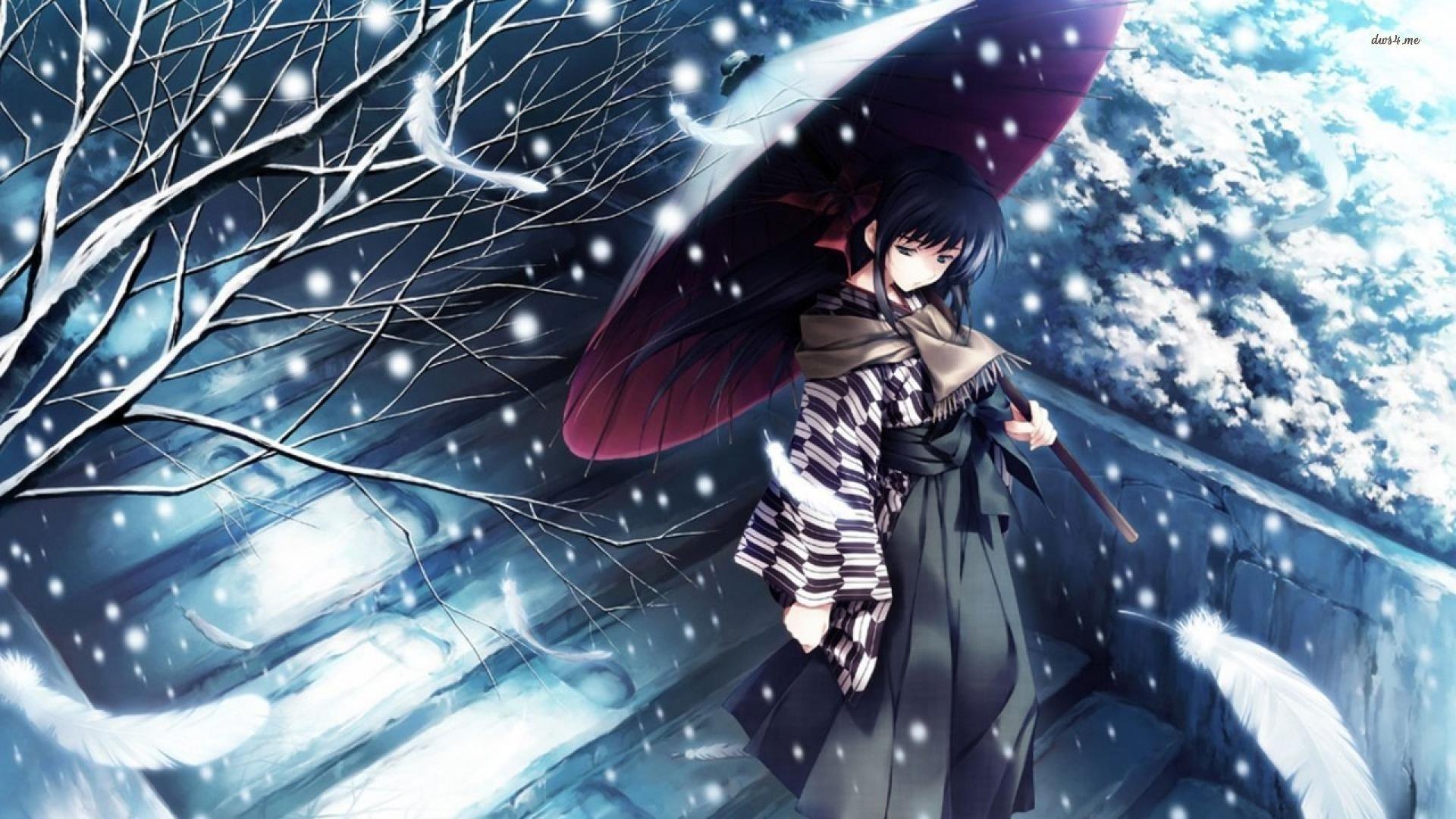 snow Tree Kimono Girl Alone Sad Anime Blue Wallpapers HD 1920x1080