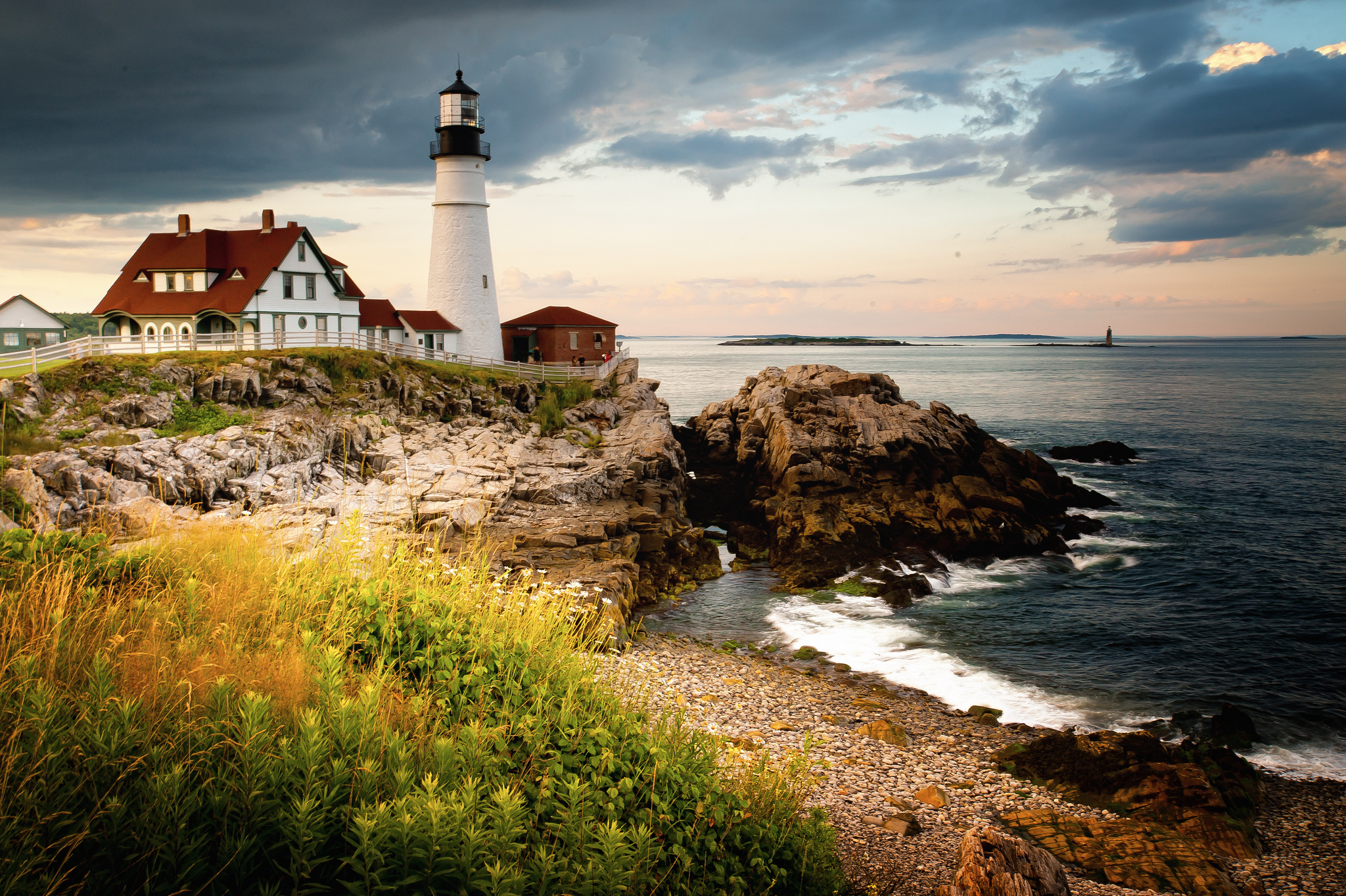 Wallpaper portland head light cape elizabeth maine lighthouse gulf 2048x1363