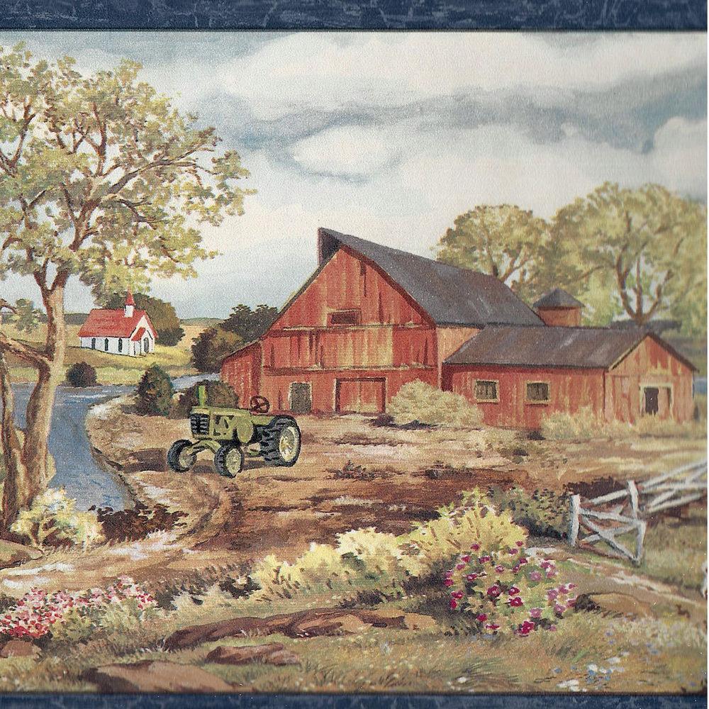 Romantic Tractor in Old Farm Scene Wallpaper Border CR eBay 1000x1000