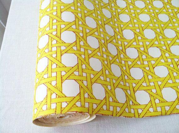 vintage 70s trellis yellow and white wallpaper per yard 570x426