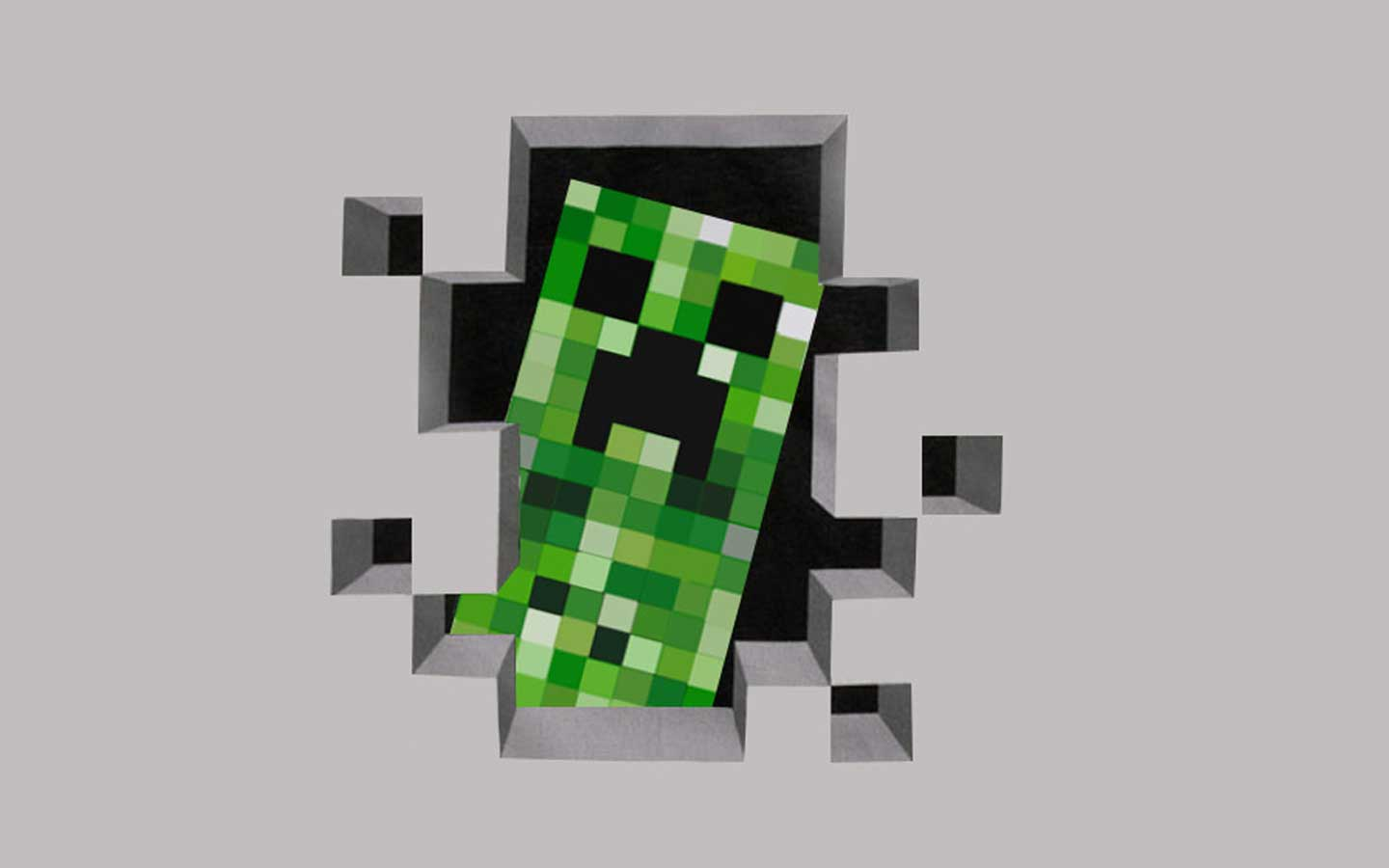 minecraft creeper coming out wallpaper 1440x900