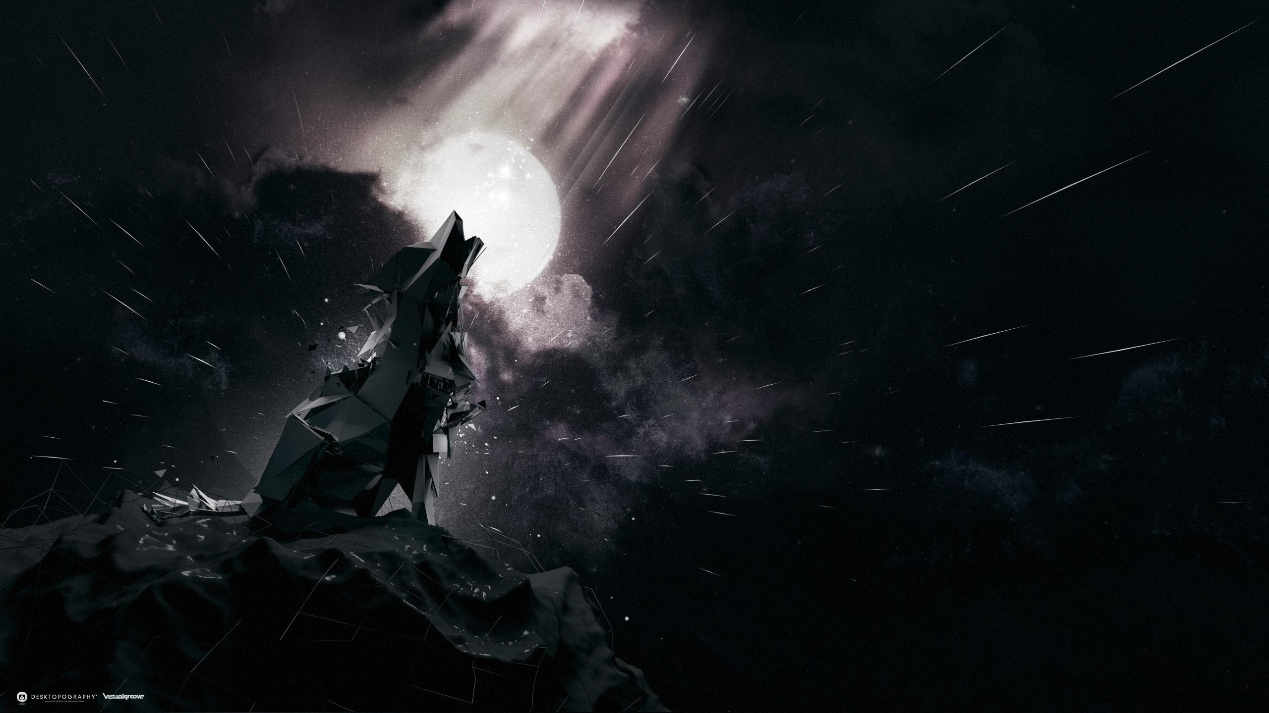 Волк картинки луна